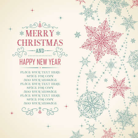 background texture: Christmas Card - Illustration. Vector illustration of Vintage Christmas Frame.