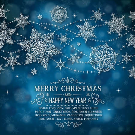 copo de nieve: Tarjeta de felicitaci�n de Navidad con espacio para la copia - Ilustraci�n. Ilustraci�n del vector del marco de la Navidad.