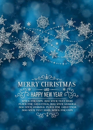 christmas poster: Christmas Vertical Poster - Illustration. Vector illustration of Christmas Background. Christmas Dark Blue - Long Text Portrait.
