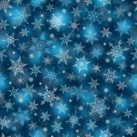 blue abstract: Seamless Winter Background - Snowflakes. Pattern Illustration. Vector Seamless Pattern for Christmas Winter Theme.