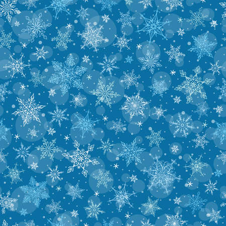blue background: Seamless Winter Background - Snowflakes Pattern Illustration. Vector Seamless Pattern for Christmas Winter Theme. Illustration