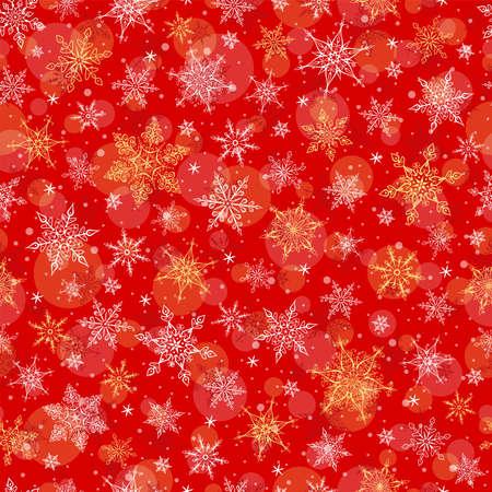 Seamless Winter Background - Snowflakes Pattern Illustration. Vector Seamless Pattern for Christmas Winter Theme. Çizim
