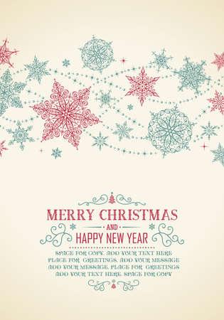 Carte de Noël vintage - Illustration. Vector illustration de Christmas Frame Old style. Banque d'images - 48141677