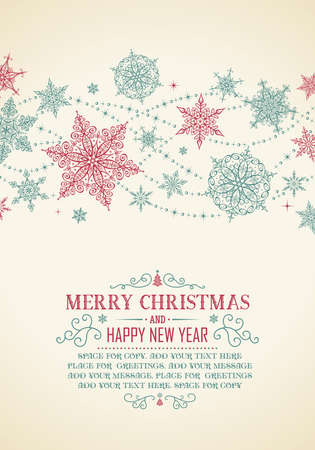 Uitstekende Kerstkaart - Illustratie. Vector illustratie van de oude-stijl Kerst Frame.