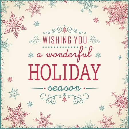 winter background: Vintage Christmas Frame - Illustration. Vector illustration of Old-Styled Winter Background. Illustration