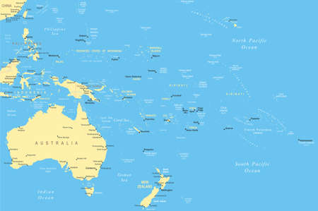 oceania: Australia and Oceania - map - illustration. Australia and Oceania map - highly detailed vector illustration. Illustration