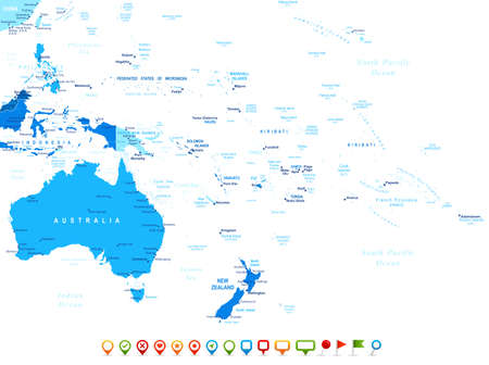 australia: Australia and Oceania - map and navigation icons - illustration.Image contains land contour, country and land names, city names, water object names, navigation icons.