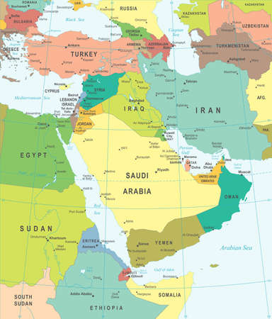 asia map: Middle East and Asia map - highly detailed vector illustration.