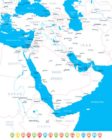geographical locations: Middle East and Asia map - highly detailed vector illustration.