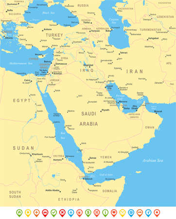 middle east: Middle East and Asia map - highly detailed vector illustration.