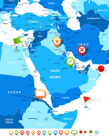 Middle East And Asia Map - Highly Detailed Vector Illustration ...