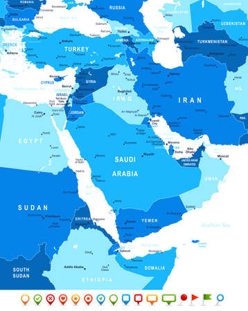 middle east map: Middle East and Asia - map and navigation icons - illustration.