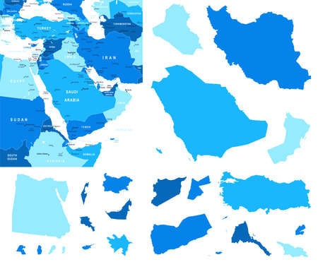 middle east map: Middle East map and country contours - Illustration.