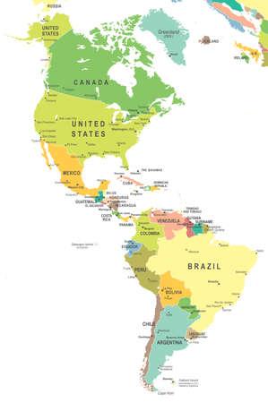 mapa de venezuela: Del Norte y América del Sur mapa - altamente detallada ilustración vectorial. Vectores