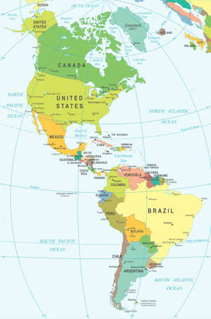 mexico: North and South America - map - illustration. Colored and Grid.