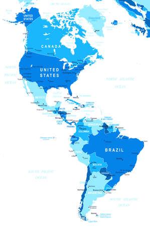 america del sur: Del Norte y América del Sur mapa - altamente detallada ilustración vectorial. Vectores