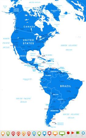 Noord- en Zuid-Amerika - kaart en navigatie pictogrammen - illustratie.