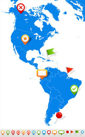 geographical locations: Vector illustration of North and South America map and navigation icons.