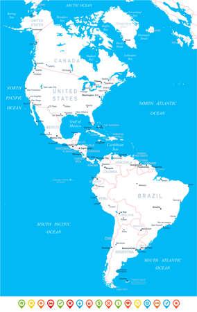 北アメリカと南アメリカ地図 - 非常に詳細なベクトルの図。