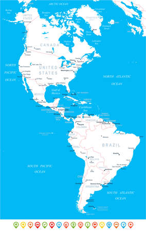 south america map: North and South America map - highly detailed vector illustration. Illustration