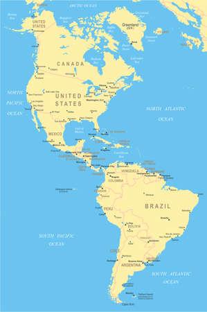 south america: Del Norte y Am�rica del Sur - mapa - ilustraci�n.