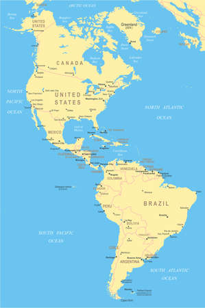 north america: North and South America - map - illustration.