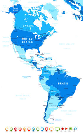 Du Nord et Amérique du Sud carte - très détaillées illustration image contient contours terrestres, les noms de pays et de la terre, les noms de ville, les noms d'objets de l'eau, des icônes de navigation.