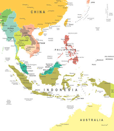 Southeast Asia map - highly detailed vector illustration.