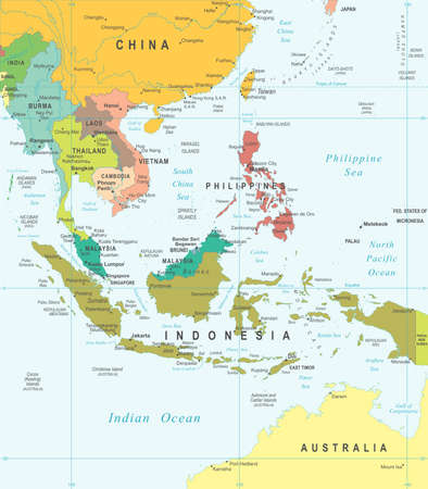 and in asia: Southeast Asia map - highly detailed vector illustration.