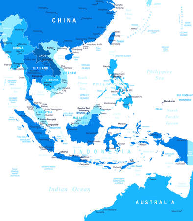 asia map: Southeast Asia - map - illustration. Illustration