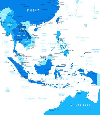 southeast asia: Southeast Asia - map - illustration. Illustration