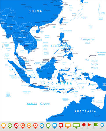 map of brunei: Southeast Asia - map and navigation icons - illustration.
