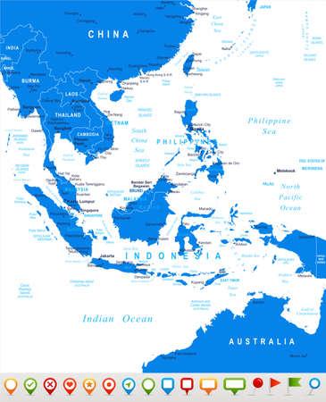 Southeast Asia - map and navigation icons - illustration. Фото со стока - 49360571