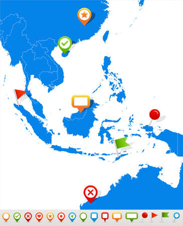 Vector illustration of Southeast Asia map and navigation icons.