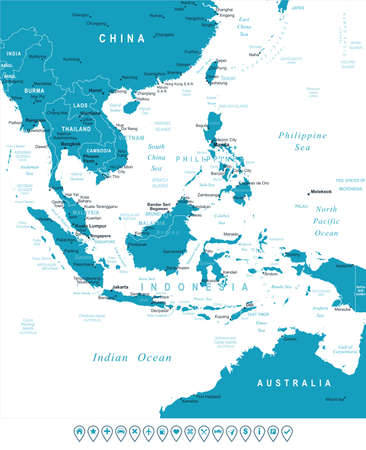 navigation object: Southeast Asia map - highly detailed vector illustration. Image contains land contours, country and land names, city names, water object names, navigation icons. Illustration