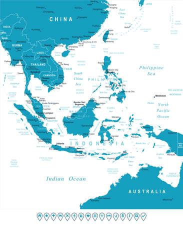 Zuidoost-Azië kaart - zeer gedetailleerde vector illustratie. Het beeld bevat land contouren, land en land namen, stad, namen water object, navigatiepictogrammen.
