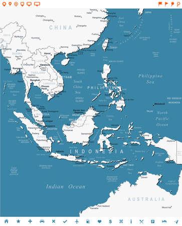 東南アジア - 地図とナビゲーション ラベルのイラスト。