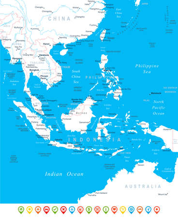 southeast: Southeast Asia - map, navigation icons - illustration.