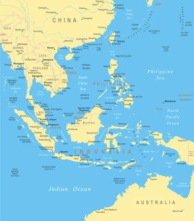 東南アジア - 地図 - イラスト。  イラスト・ベクター素材