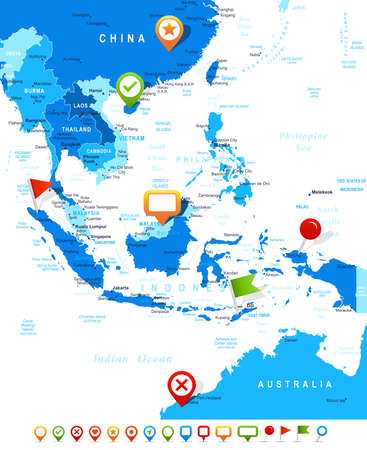 navigation object: Southeast Asia map - highly detailed vector illustration Image contains land contours, country and land names, city names, water object names, navigation icons. Illustration