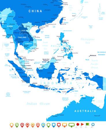 Südostasien Karte - sehr detaillierte Vektor-Illustration Bild enthält Landkonturen, Land und Landnamen, Städtenamen, Wasser Objektnamen, Navigationssymbole. Standard-Bild - 49360576