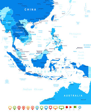 politics: Southeast Asia map - highly detailed vector illustration Image contains land contours, country and land names, city names, water object names, navigation icons. Illustration