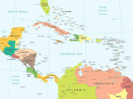 Central America And Caribbean Islands Physical Map Royalty Free