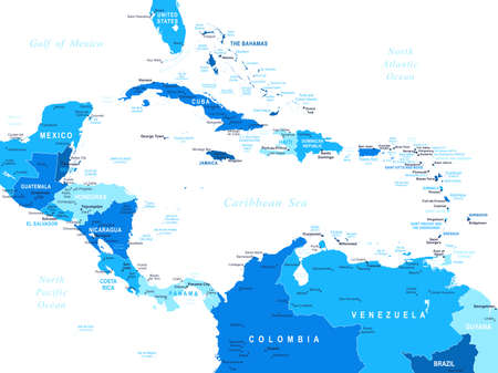 south  america: América Central mapa - altamente detallada ilustración vectorial.
