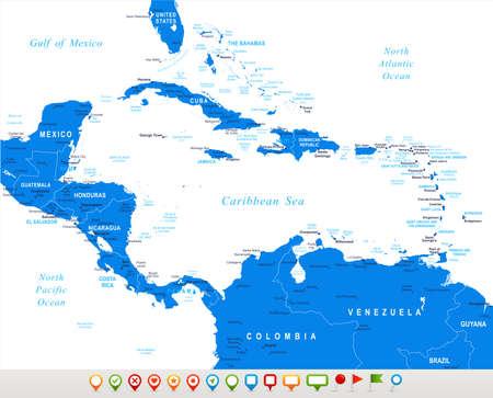 mapa de el salvador: América Central - mapa de navegación y los iconos - ilustración.