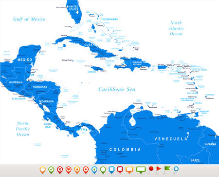 Centraal-Amerika - kaart en navigatie pictogrammen - illustratie. Stock Illustratie