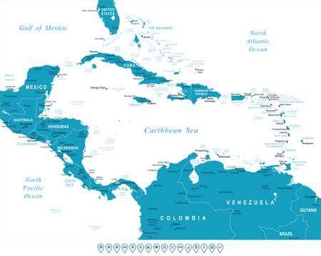 中央アメリカの地図 - 非常に詳細なベクトルの図。イメージには、土地の輪郭、国や土地の名前、都市名、水オブジェクト名が含まれているナビゲ