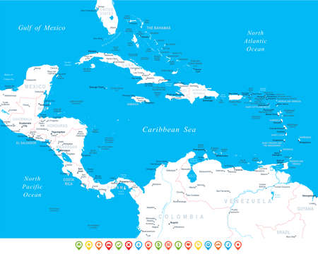 panama: Central America map - highly detailed vector illustration.