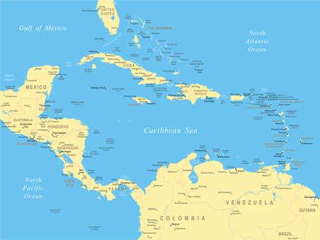 Central America map - zeer gedetailleerde vector illustratie. Stock Illustratie