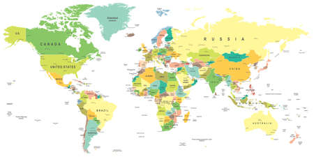 asia map: World map - highly detailed vector illustration.